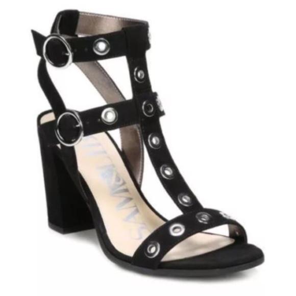 7a970eb0119 Sam   Libby Black Grommet Strappy Evita Sandals. M 5ad509a18290af196f085d4e